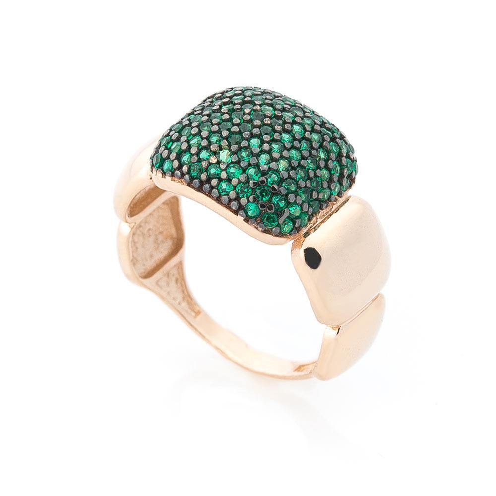 Золотое кольцо с зелеными фианитами гк05030