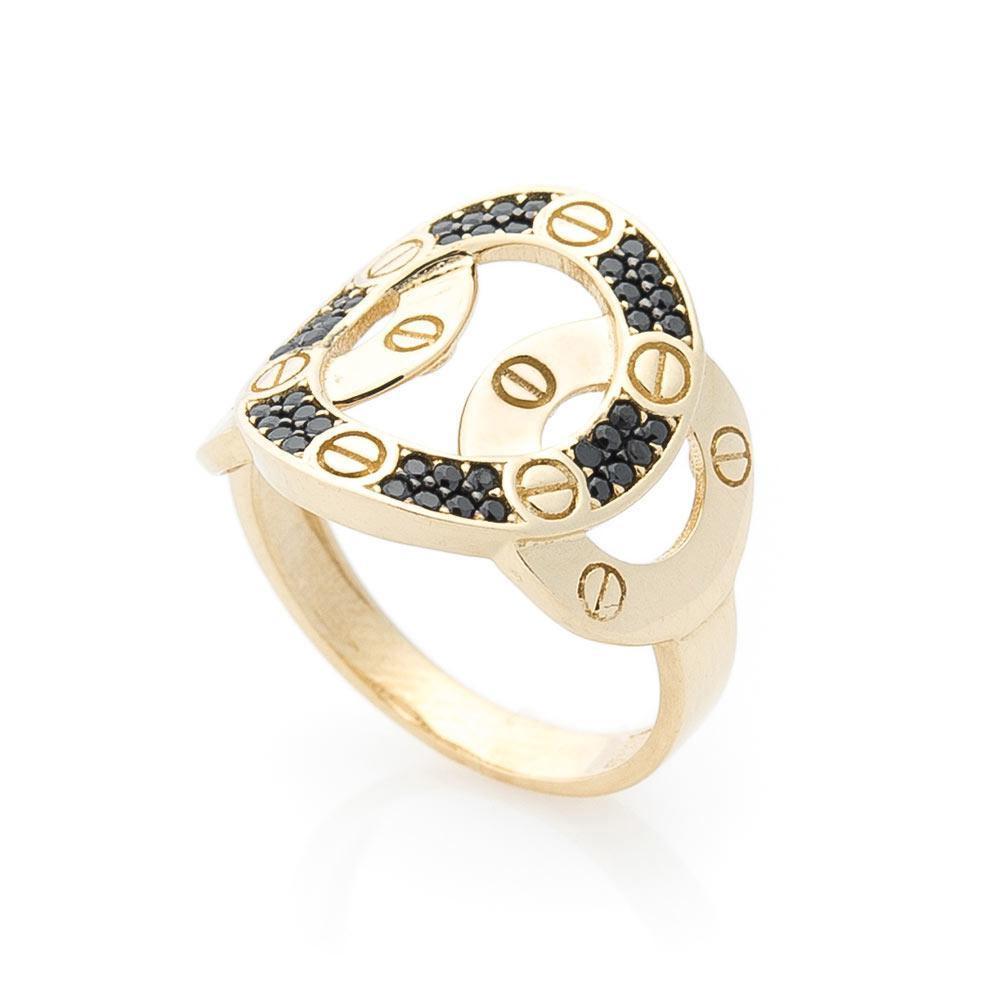 Золотое кольцо с черными фианитами гк05579
