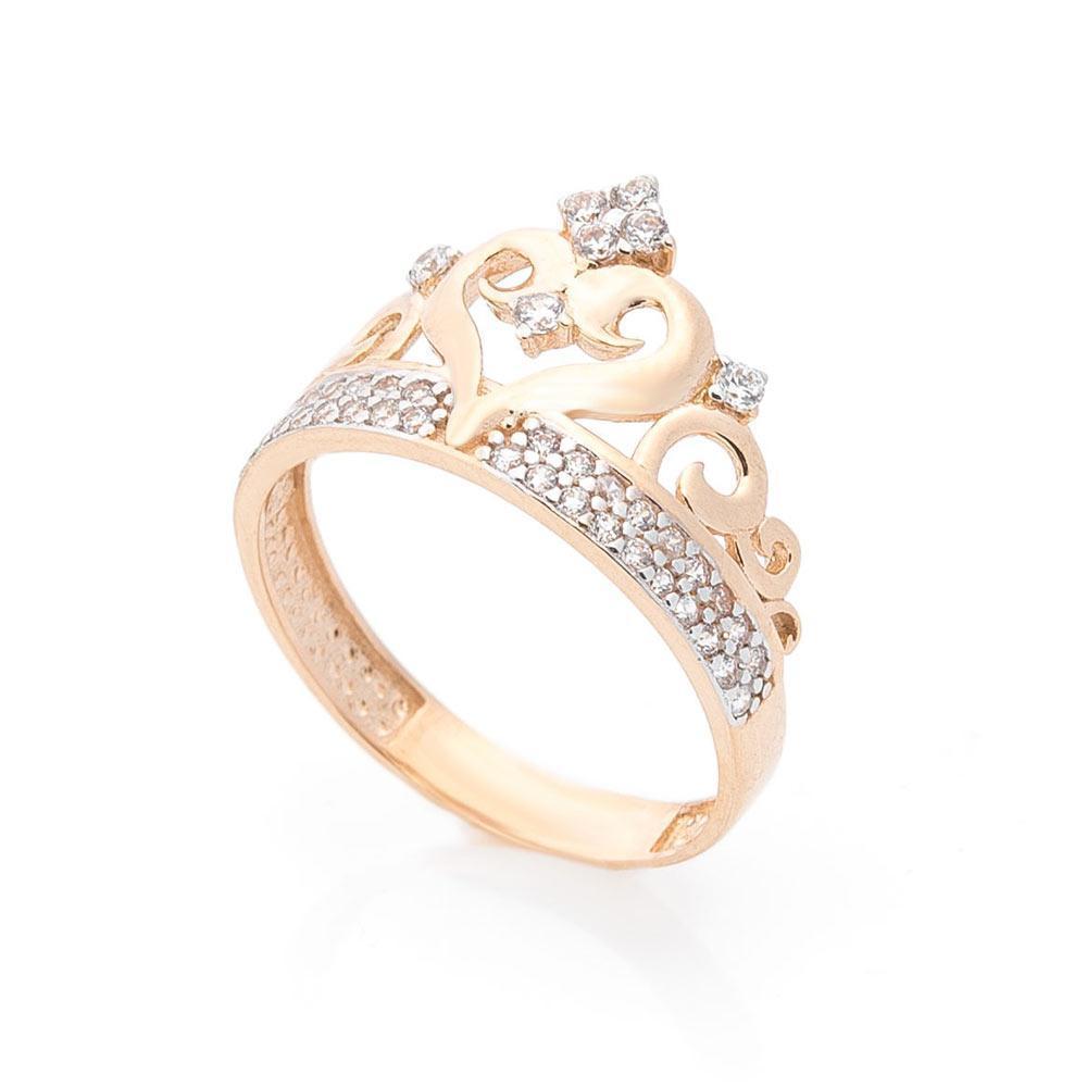 """Золотое кольцо """"Корона"""" (фианит) гк05644"""