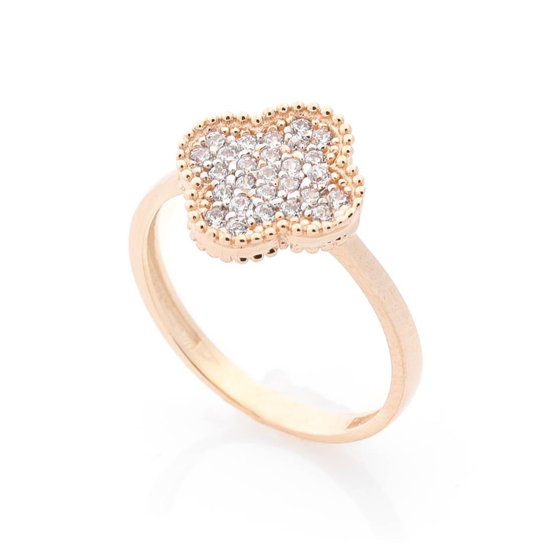 """Золотое кольцо """"Клевер с фианитами"""" гк05692"""