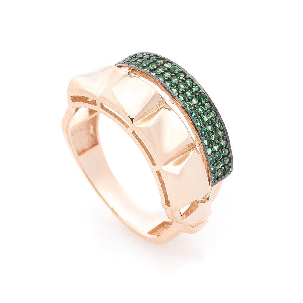 Золотое кольцо с зелеными фианитами гк05695
