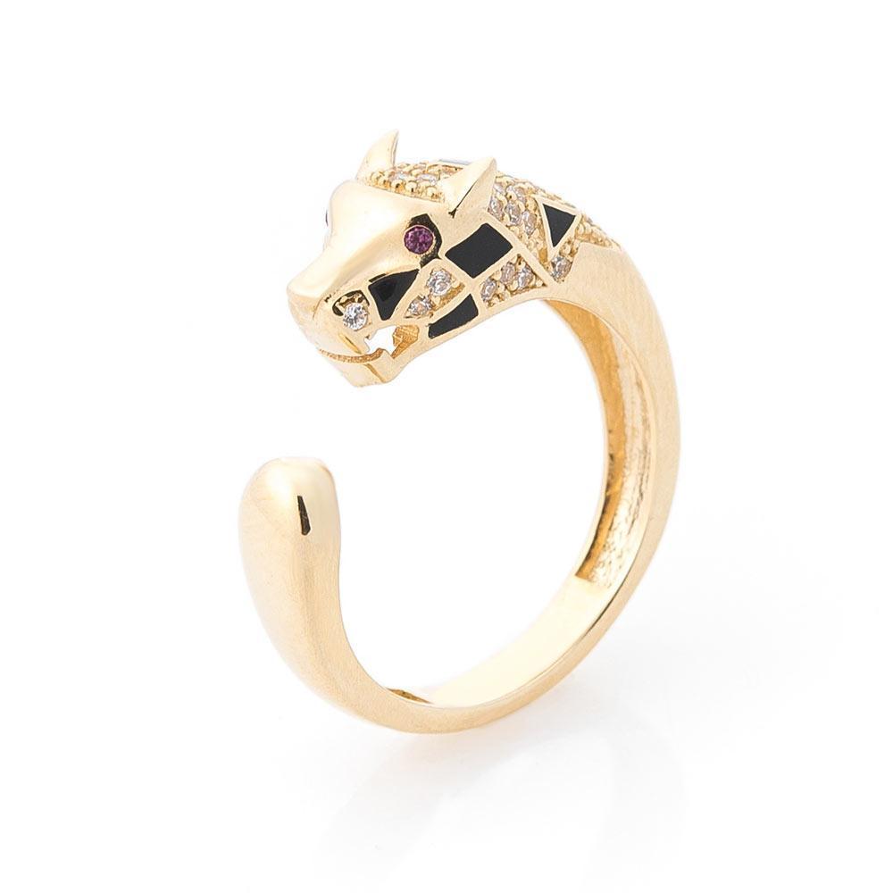"""Золотое кольцо """"Пантеры"""" (фианиты, эмаль) гк05659"""