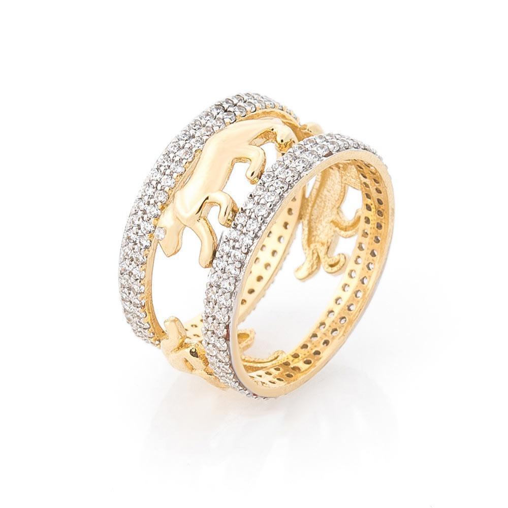 Золотое кольцо с тиграми (фианиты) гк05617