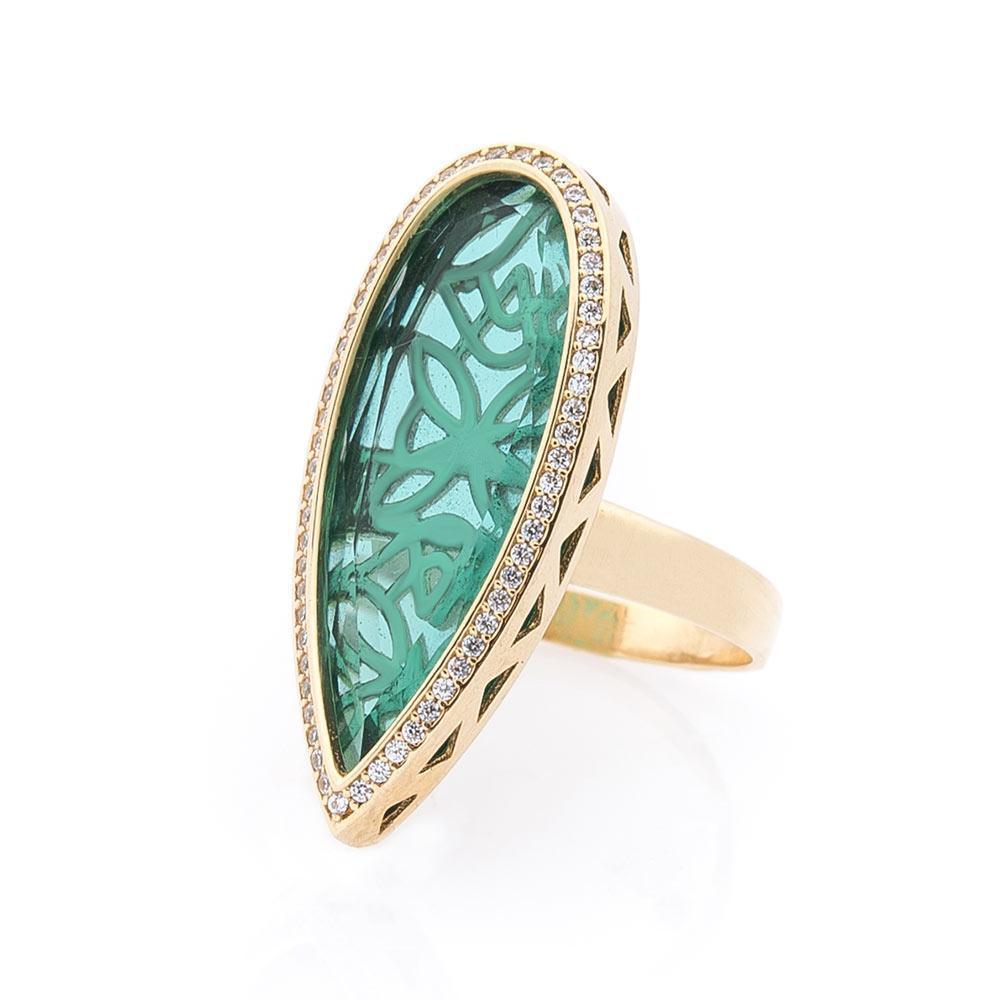 Золотое кольцо с фианитами гк03887