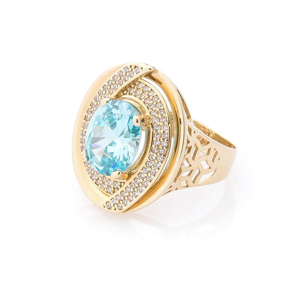Эксклюзивное золотое кольцо с фианитами гк04414