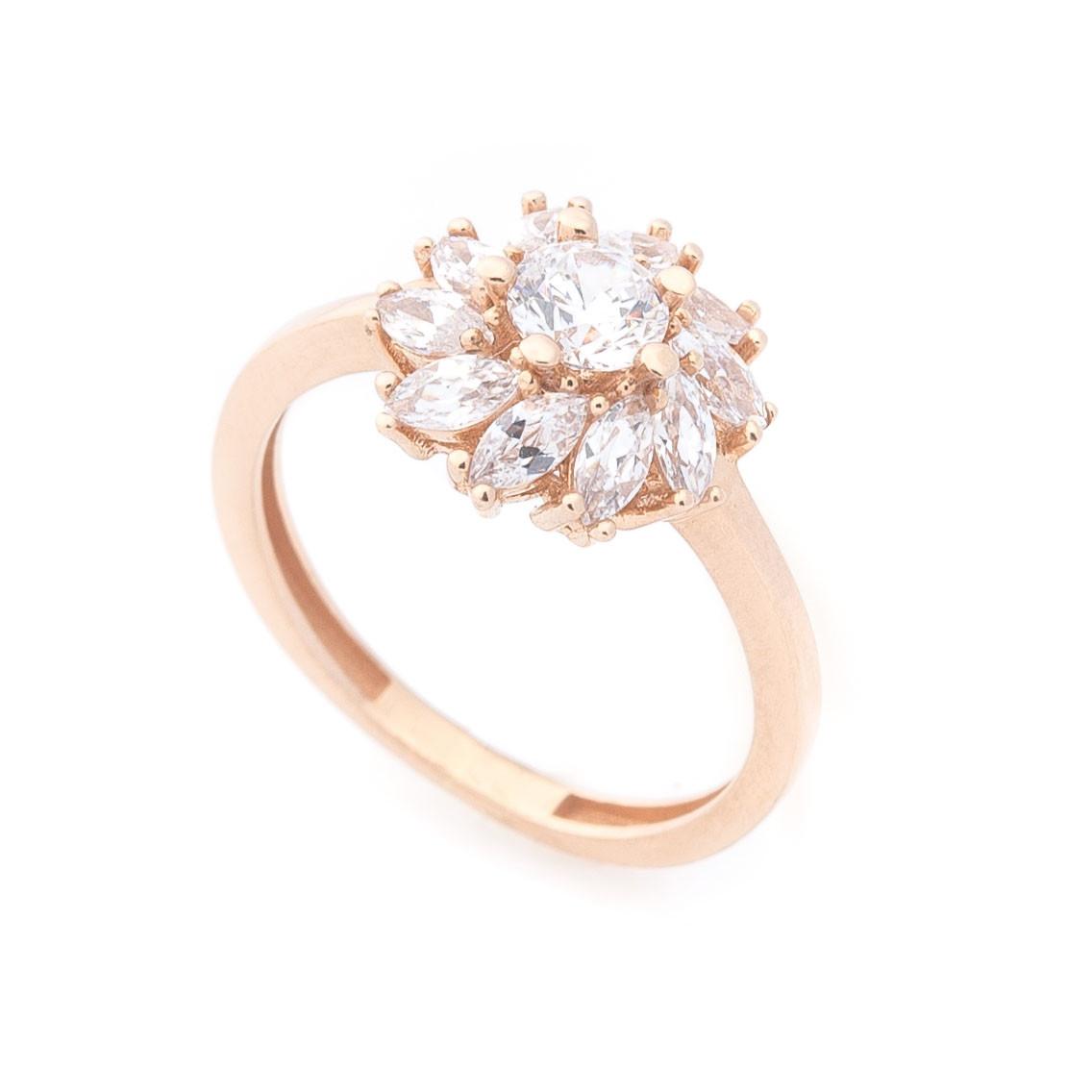 """Золотое кольцо """"Цветок"""" (фианиты) гк04913"""