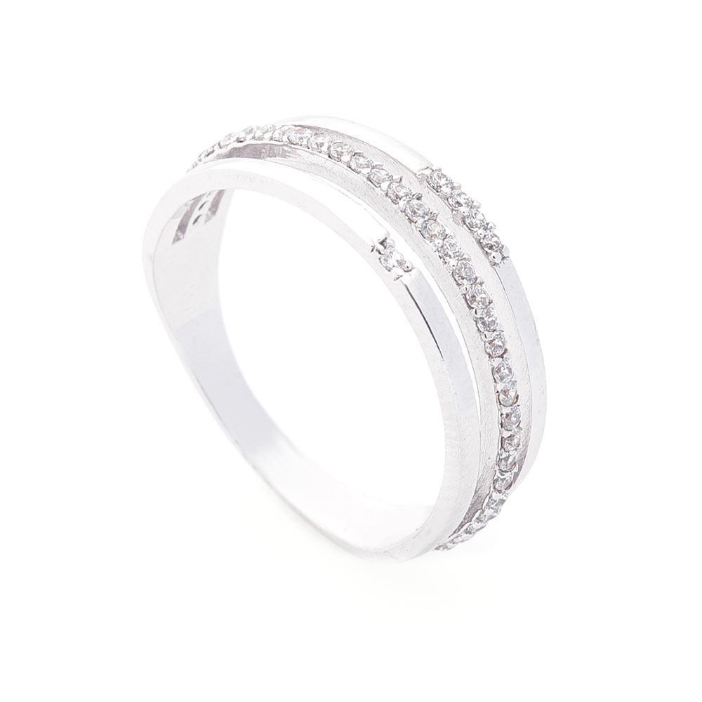 Золотое тройное кольцо с фианитами гк05550