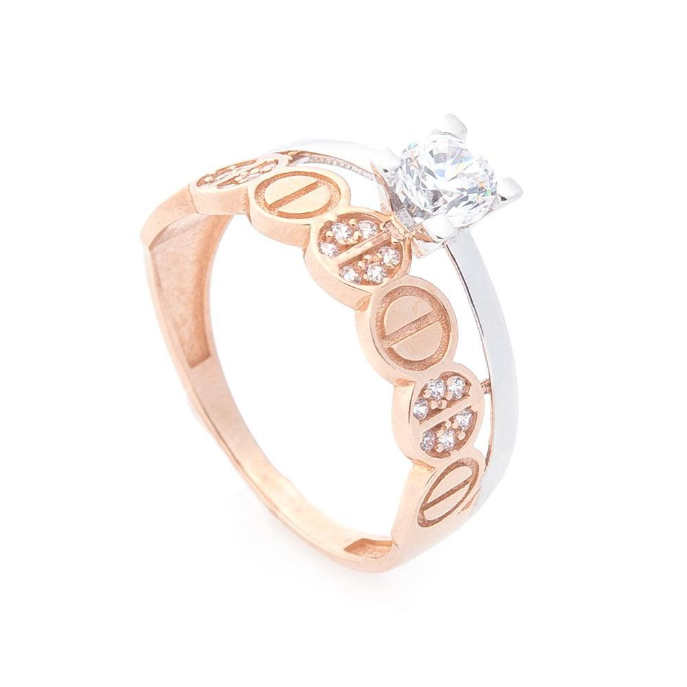 Золотое кольцо с фианитами гк05564