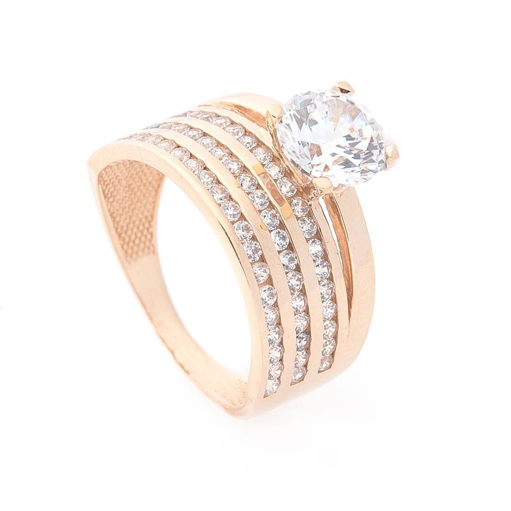 Золотое кольцо с фианитами гк05356