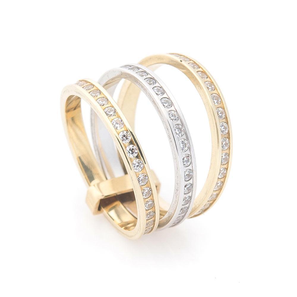 Золотое тройное кольцо з фианитами гк02639