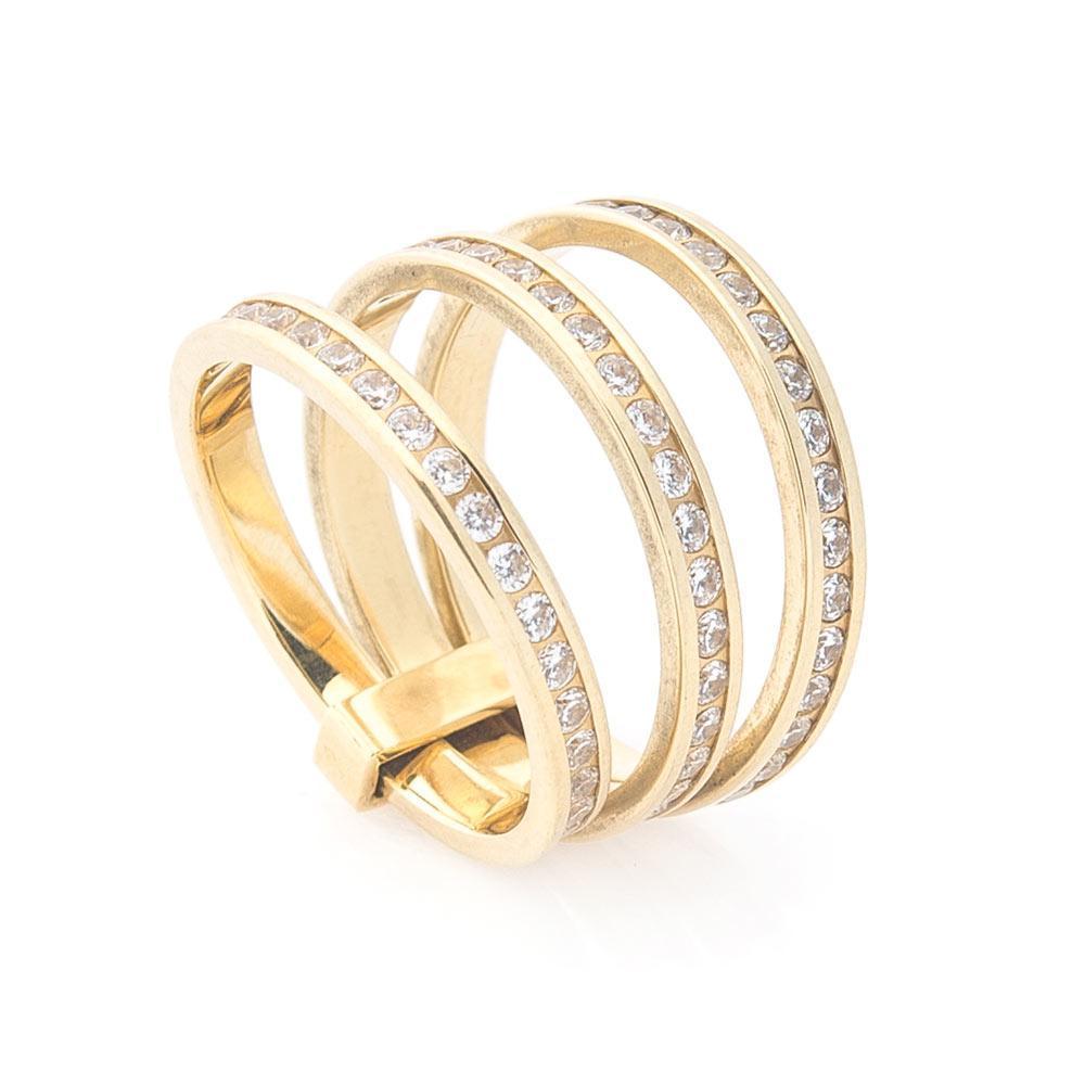 Золотое тройное кольцо (фианиты) гк02644