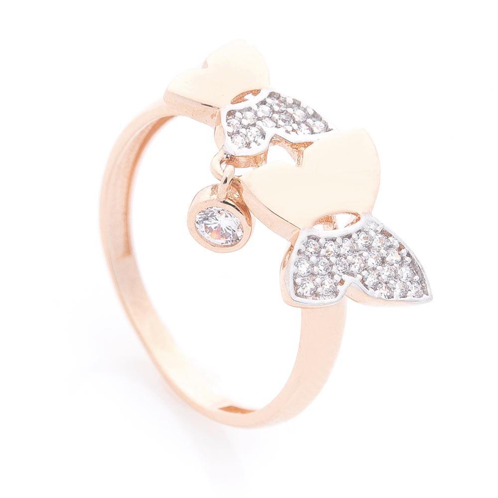 Золотое кольцо с бабочками (фианиты) гк05912