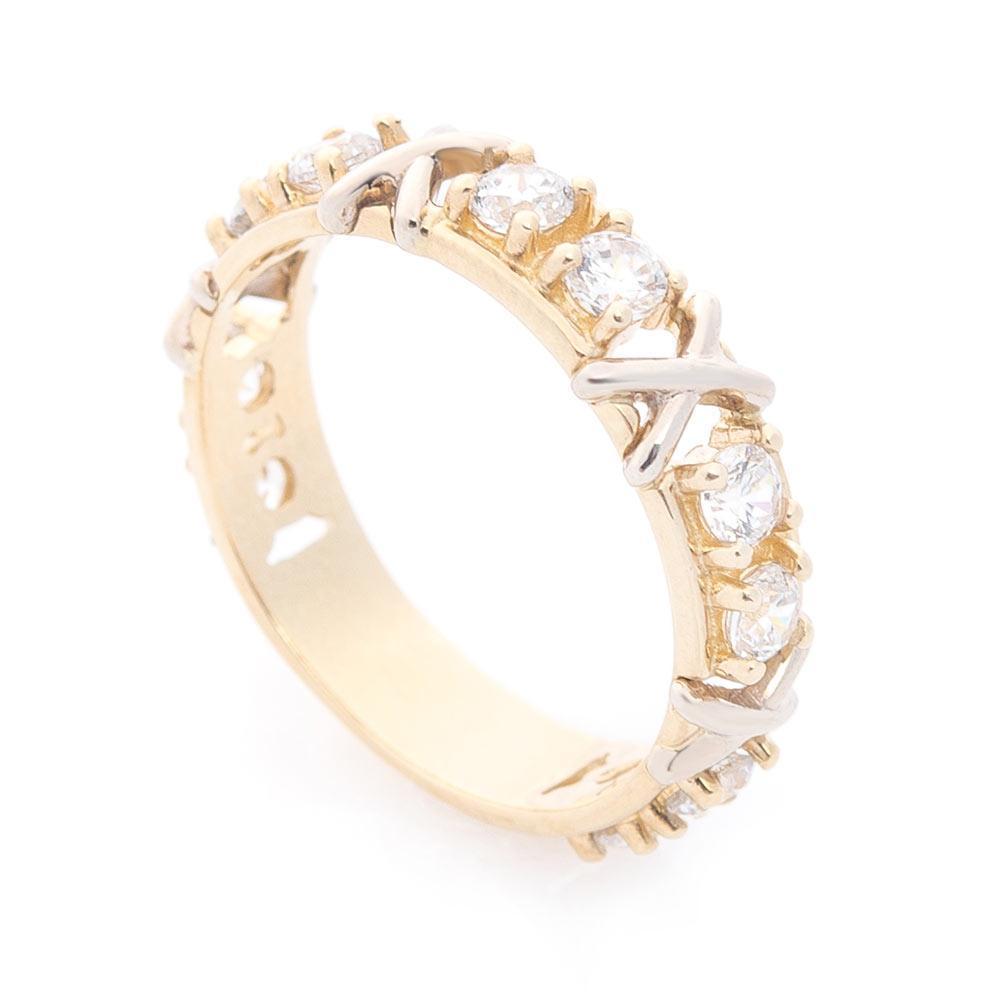 Золотое кольцо с фианитами гк05889