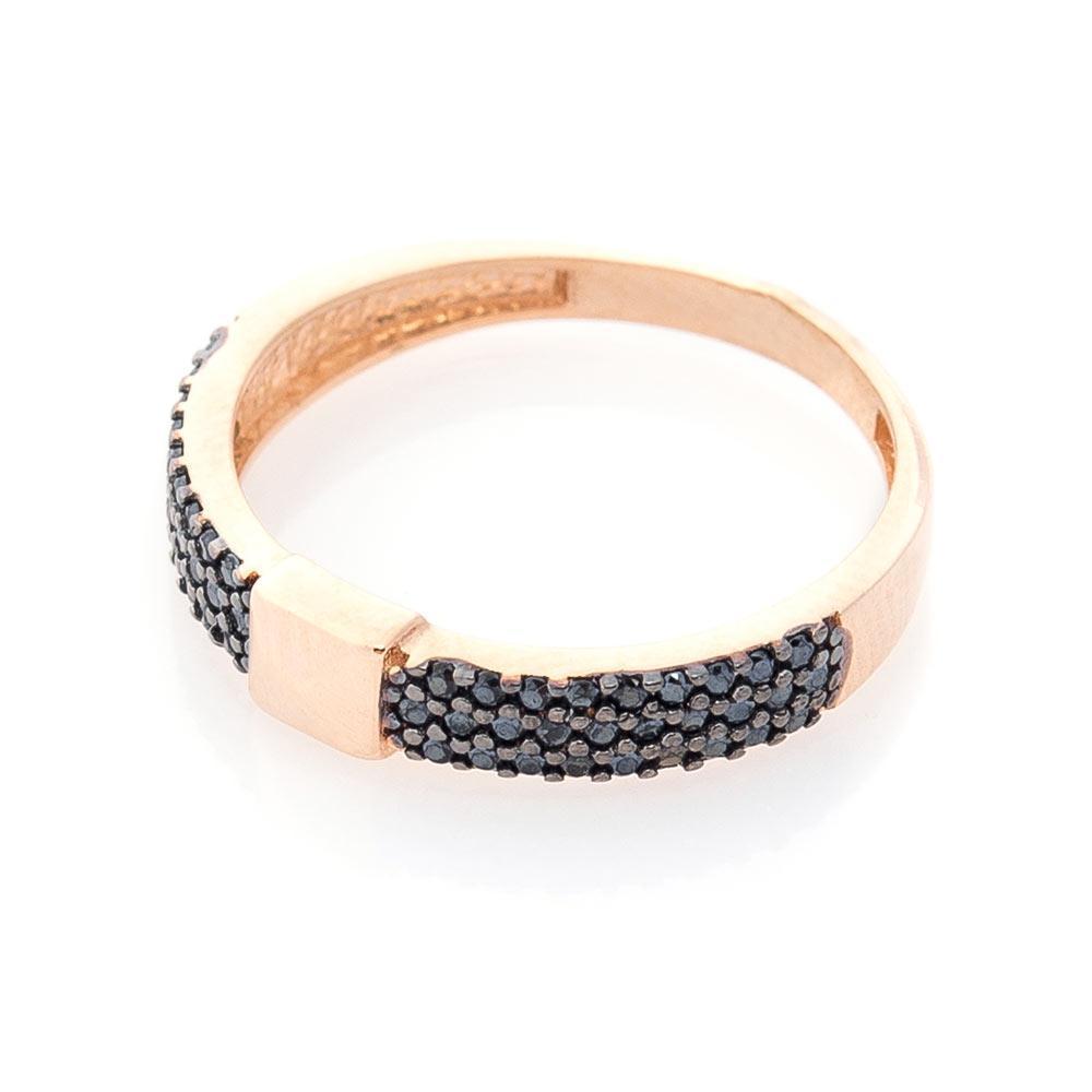 Золотое кольцо с черными фианитами гк05403