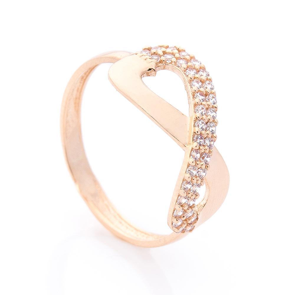 """Золотое кольцо """"Бесконечность"""" (фианиты) гк05985"""