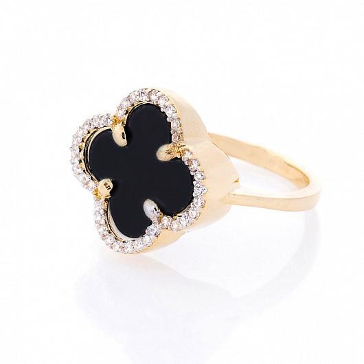 """Золотое кольцо """"Клевер"""" (фианиты, оникс) гк05409"""