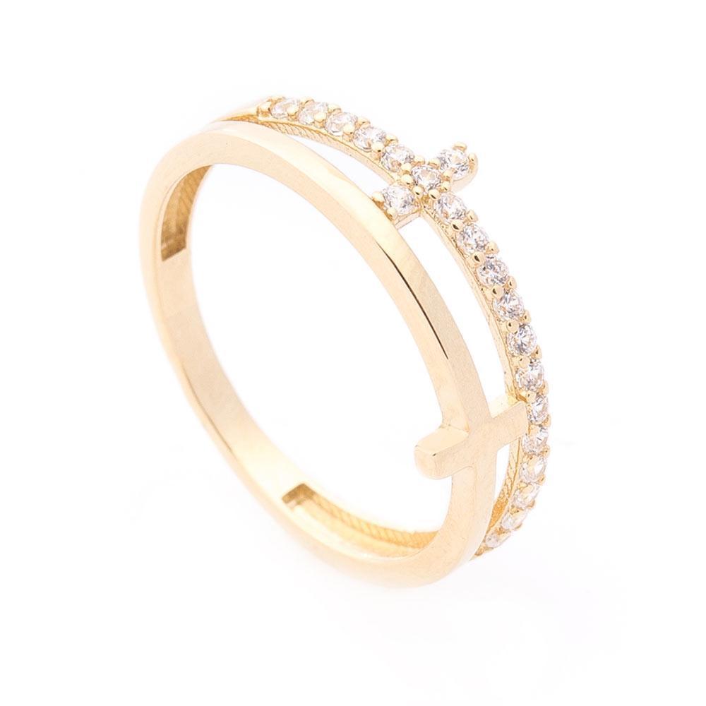 Золотое кольцо с крестиками (фианит) гк06111