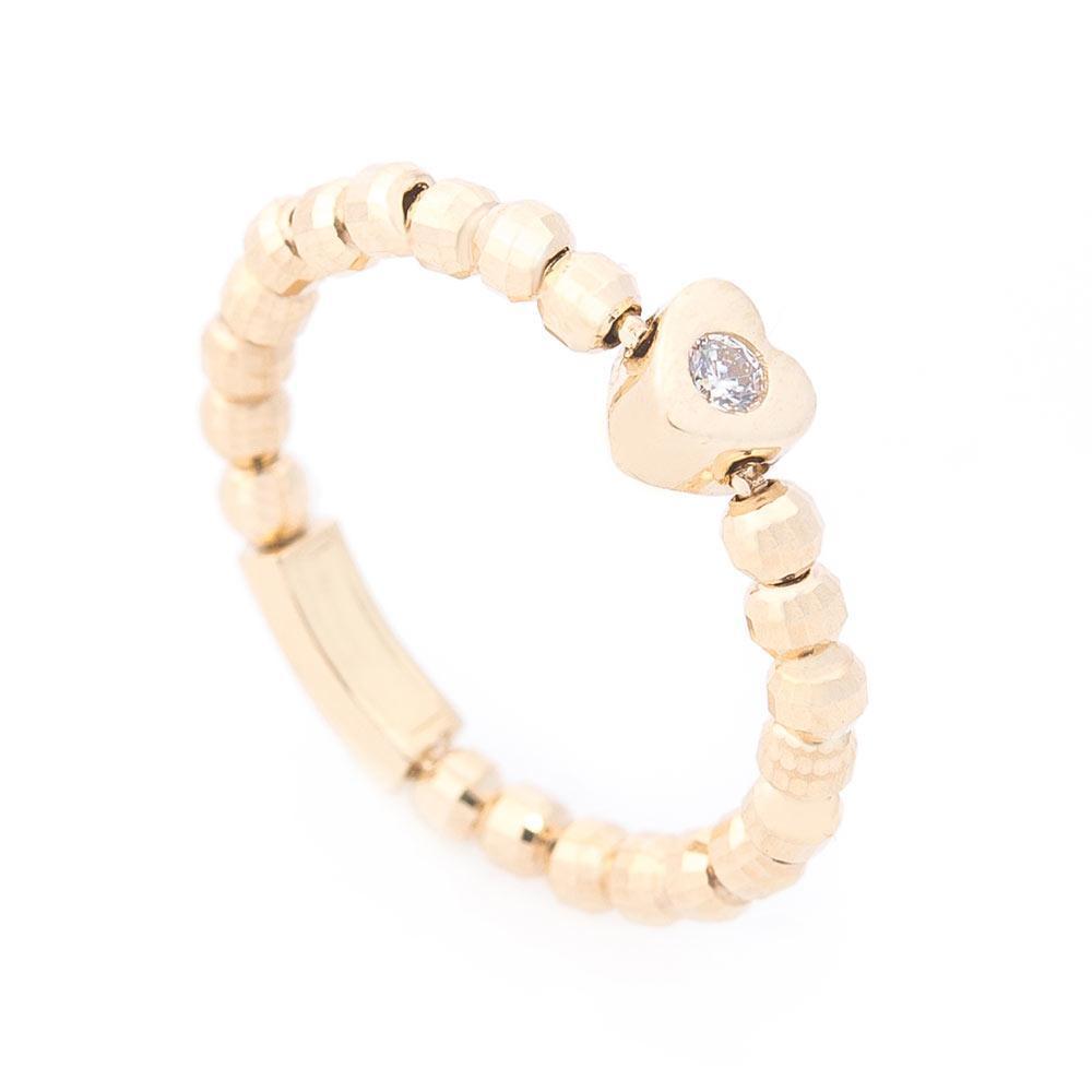 Золотое кольцо с сердечком (фианит) гк06182