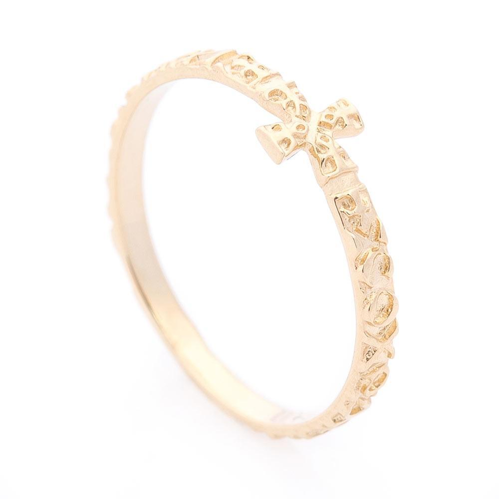 Золотое кольцо с крестиком гк05891