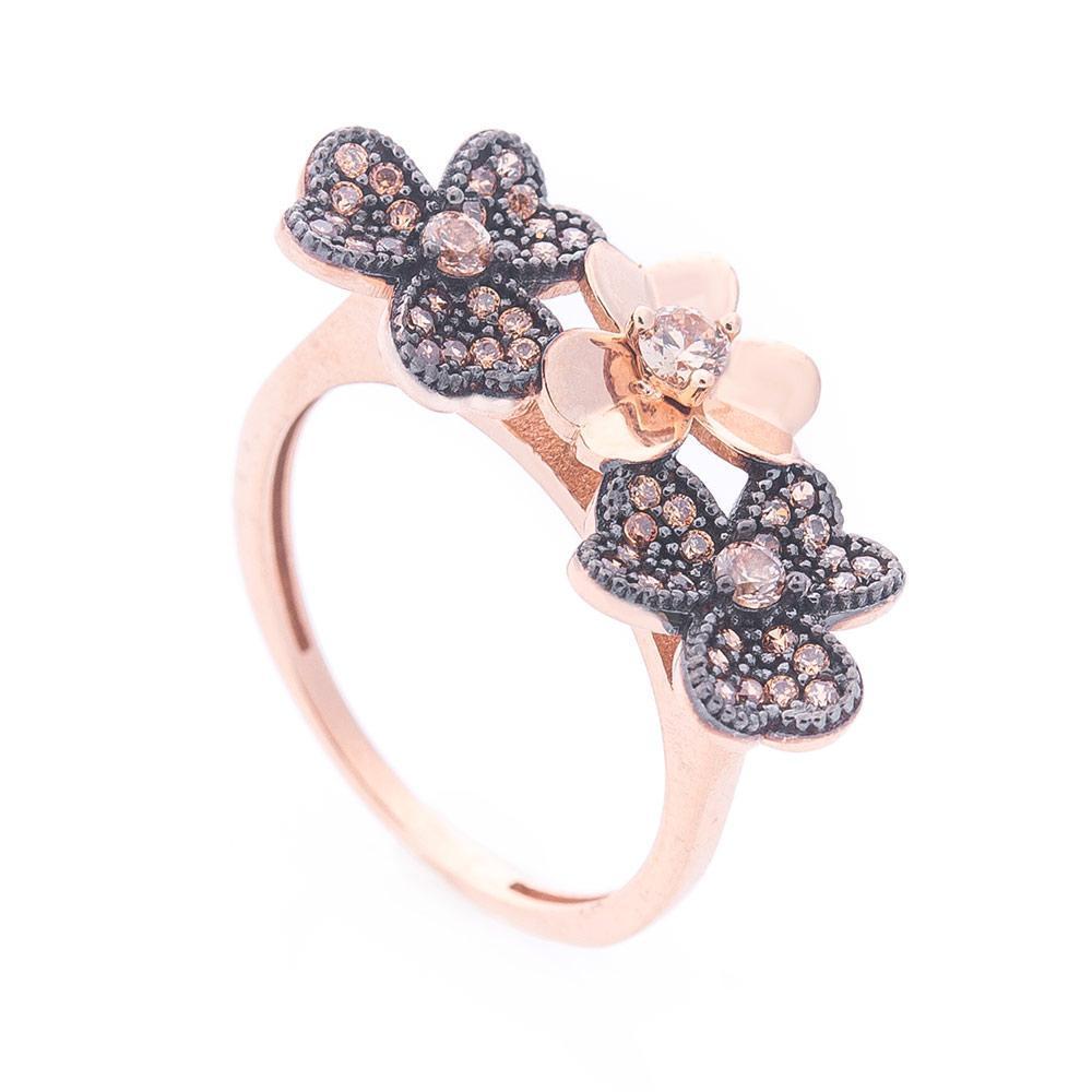 Золотое кольцо с цветочками (фианит) гк06220