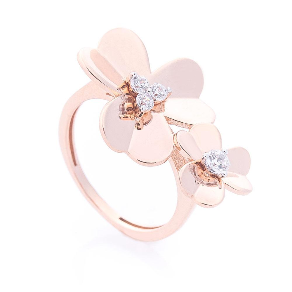 Золотое кольцо с цветочками (фианит) гк06221