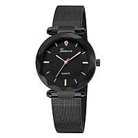 Стильные черные женские часы Geneva с метками на циферблате | 88650