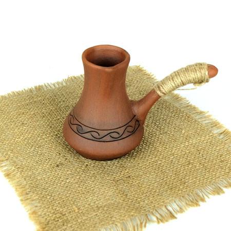 Турка вязаный декор 150 мл из красная глины