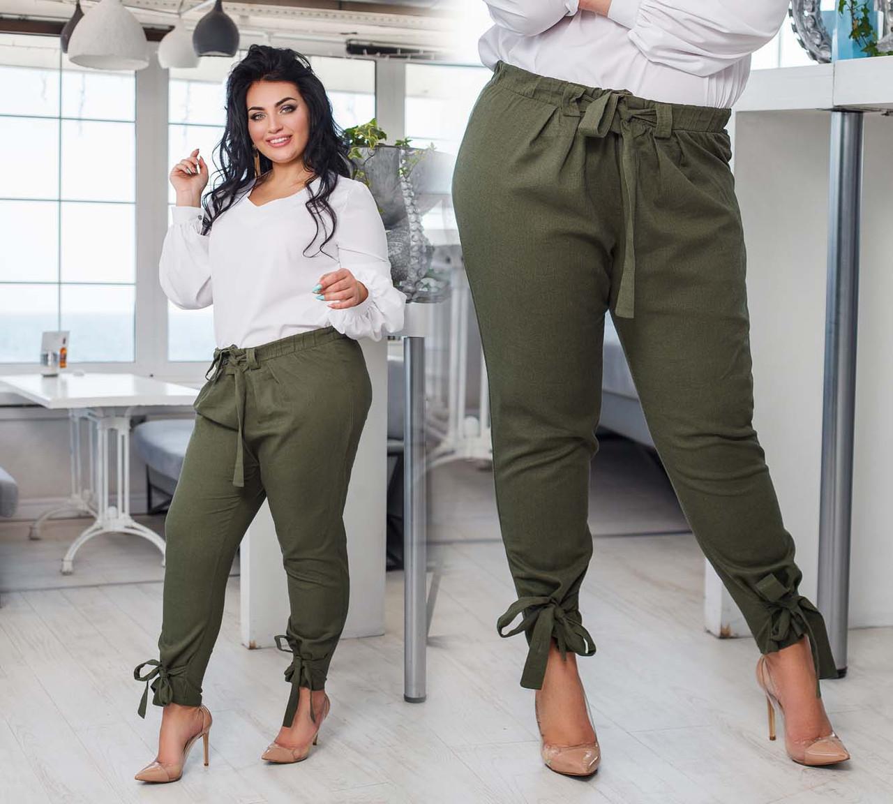 """Женские стильные летние брюки до больших размеров 15175 """"Лён Поясок Завязки"""" в расцветках"""