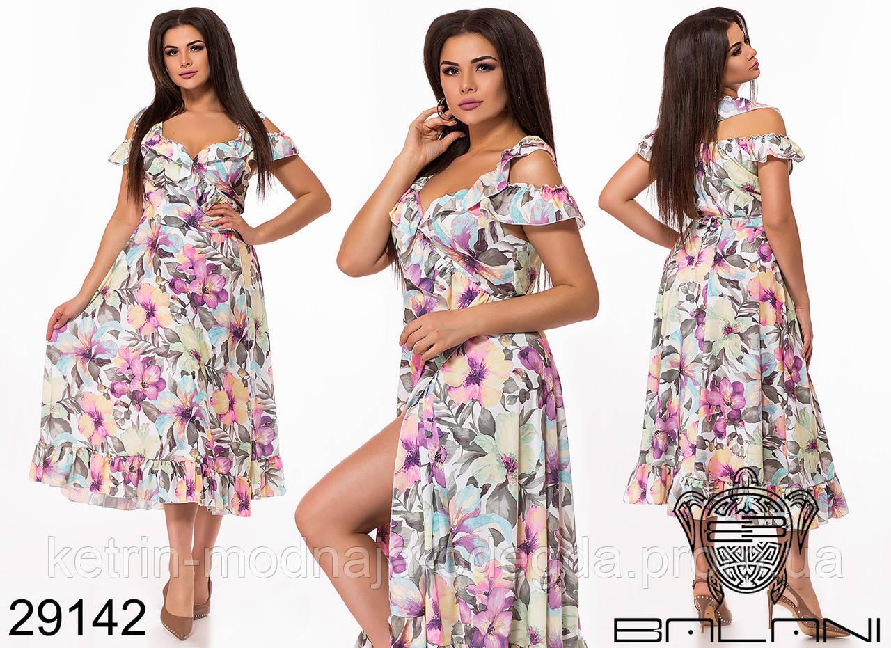 199f91a803e2c7f Элегантное женское летнее платье сарафан на запах с цветочным принтом  больших размеров 48 - 58