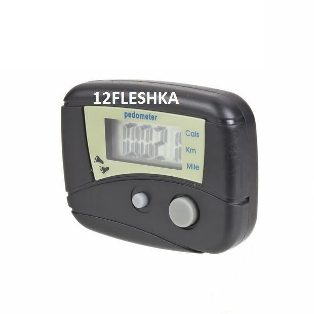 Цифровой шагометр / педометр компактный, простой, удобный, крепление на одежды, подсчет км, ккал