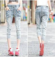 Женские укороченные джинсы на шнуровки
