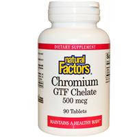 Хром хелат 90 таб 500 мкг при сахарном диабете ожирении нормализация сахара  Natural factors USA