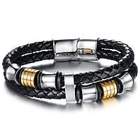 """Кожаный браслет """"Импульс"""" со стальными вставками, размеры 20,5 и 22"""