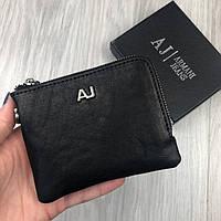 Стильный Кожаный Кошелек Armani Jeans AJ черный натуральная кожа Турция Портмоне Армани качественная реплика