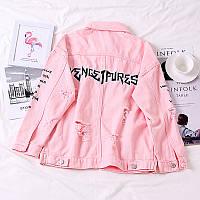 Женская короткая джинсовая куртка рванка Liven Get Purest  розовая, фото 1