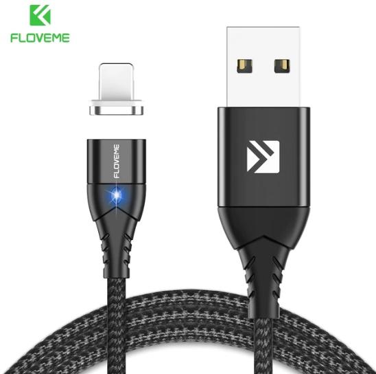 FLOVEME Магнитный кабель usb Lightning быстрая зарядка 3А для iOS Apple iPhone для зарядки Цвет чёрный