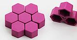 Ковпачки силіконові на колісні гайки 19 мм круглі малинові, фото 3