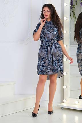 Платье- рубашка 5285 синее, фото 2