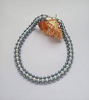 Колье, ожерелье белое из бисера ручной работы