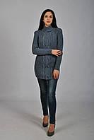 Женский вязаный серый свитер на резинке с косой