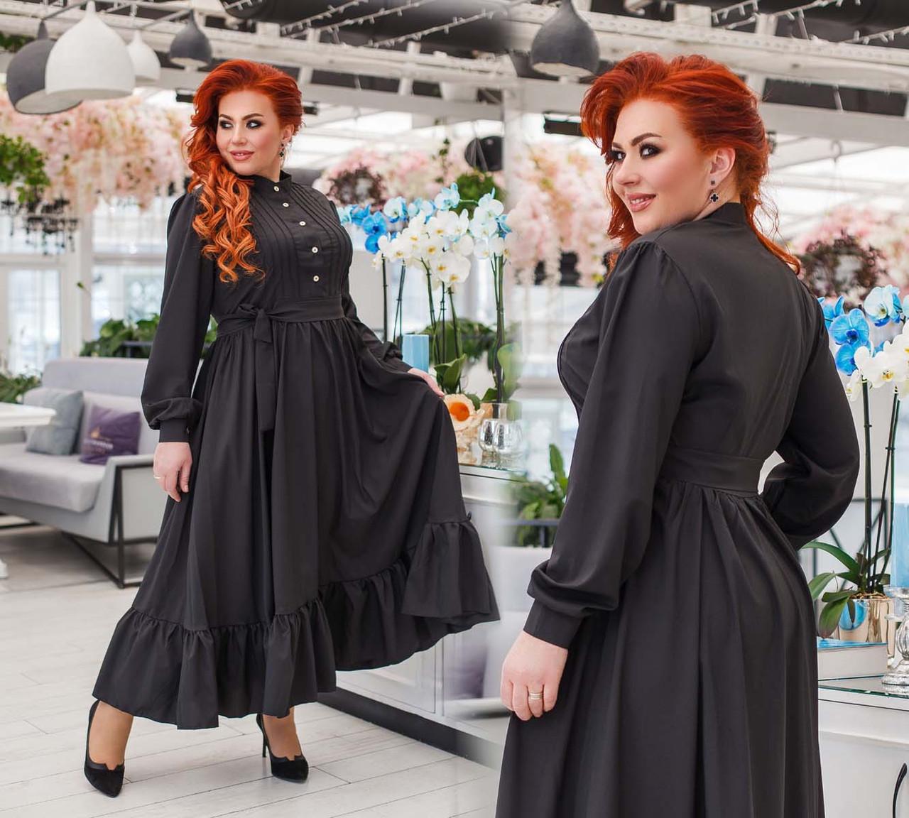 """Женское длинное платье в больших размерах 0386 """"Софт Макси Стойка Волан"""""""