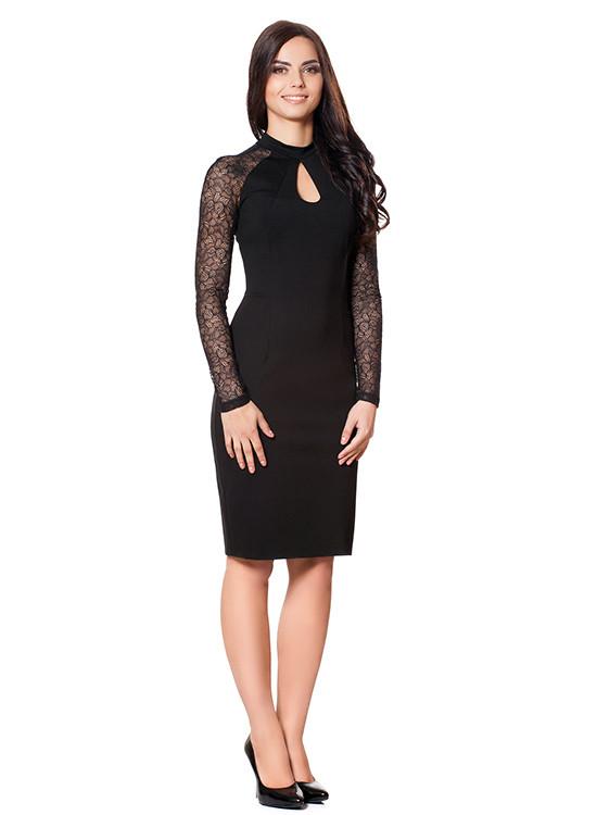 Нарядное черное платье батальное (размеры S-3XL)