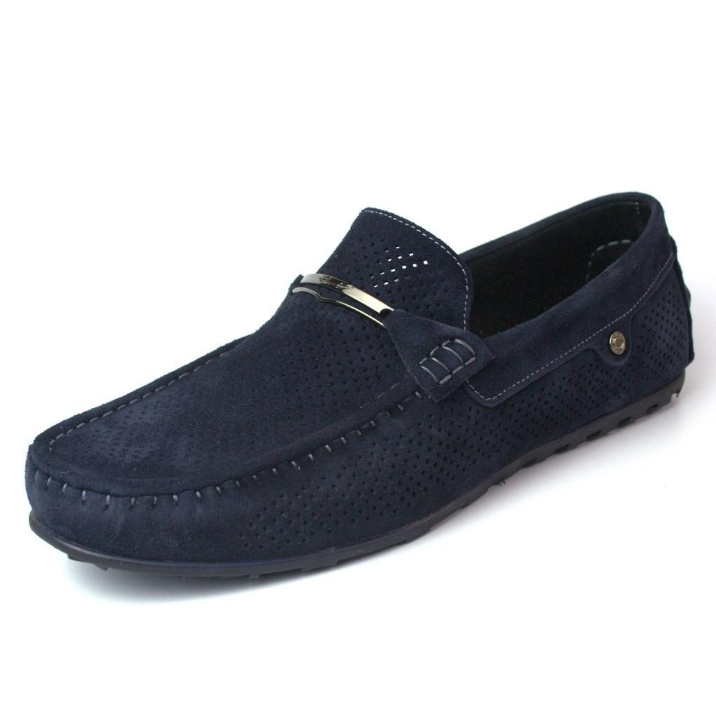 Летние мокасины замшевые синие с перфорацией мужская обувь больших размеров Rosso Avangard M4 Cross Blu BS