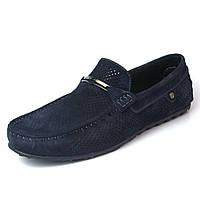 Летние мокасины замшевые синие с перфорацией мужская обувь больших размеров Rosso Avangard M4 Cross Blu BS, фото 1