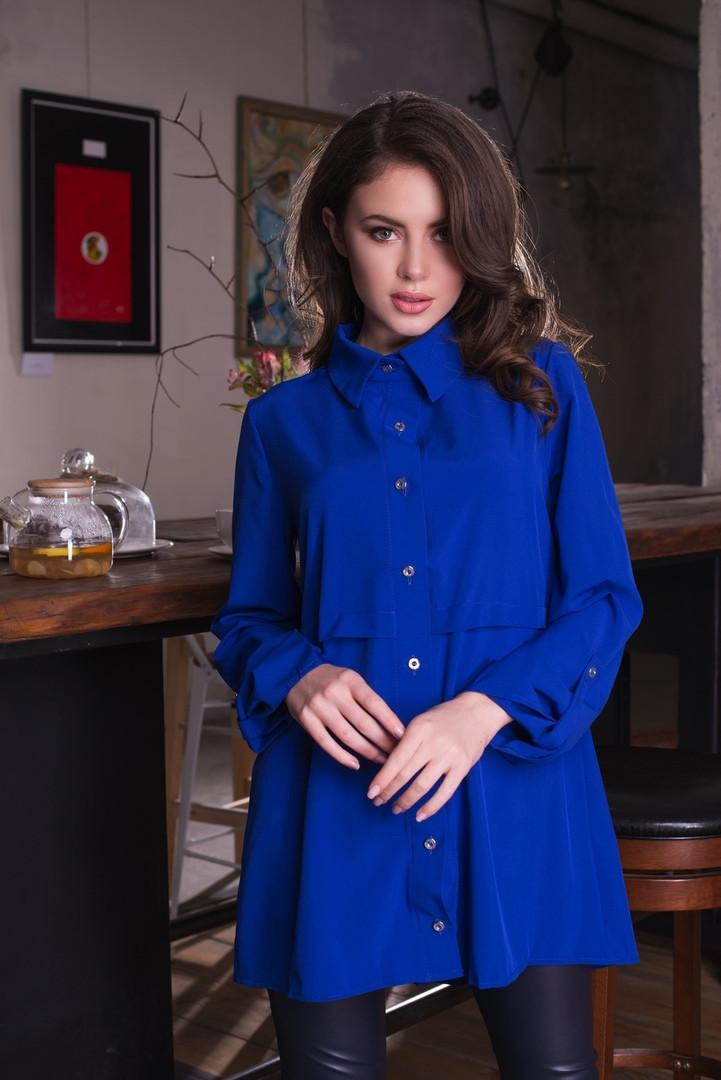 Удлинённая женская рубашка свободного кроя 50, 52, 54, 56