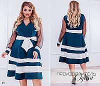 Платье вечернее низ полоски креп-костюмка+сетка 48-50,52-54,56-58, фото 1