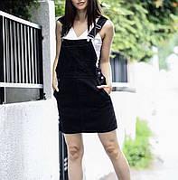 Женский джинсовый сарафан с застежкой на пуговицы по бокам