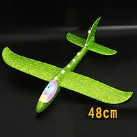 Ручной метательный самолет 48см планер трюкач с LED подсветкой по всей длине. Зеленый