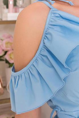 Красивое летнее платье с ложным запахом голубое, фото 3