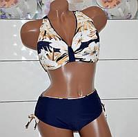 Размер 62! Стильный модельный купальник сине-бежевого цвета для женщин с  интересным дизайном,